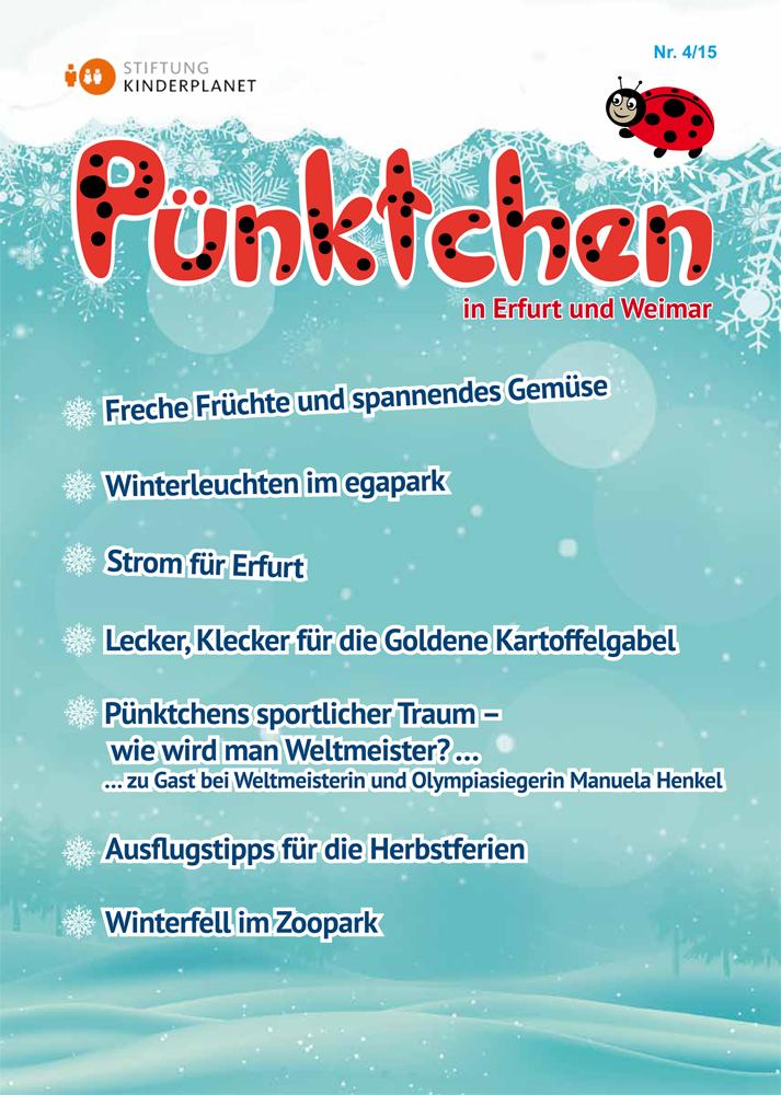 """Die Winterausgabe der """"Pünktchen"""" 4/2015 mit einem Bericht von der Preisverleihung zur """"Goldenen Kartoffelgabel"""""""